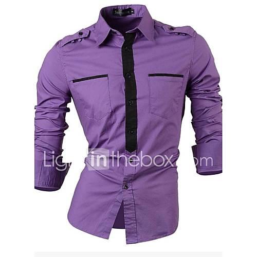 Hombre Simple / Tejido Oriental Formal / Trabajo Primavera Camisa,Cuello Mao Bloques Manga Larga Algodón Blanco / Gris / Morado Medio
