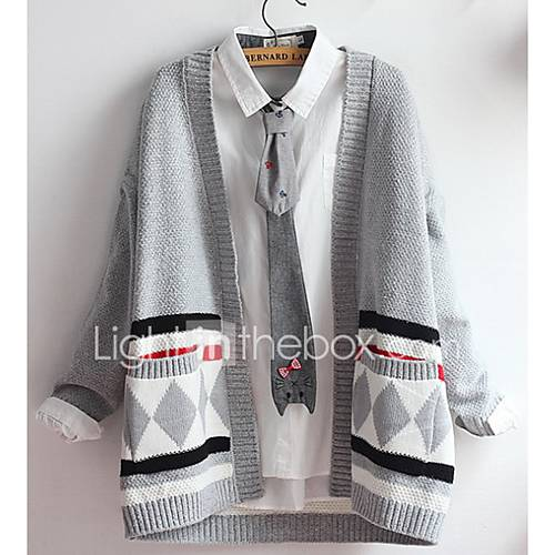 Dames Casual/Dagelijks Eenvoudig Normaal Vest Effen-Zwart / Grijs Strakke ronde hals Lange mouw Katoen Lente / Herfst Medium