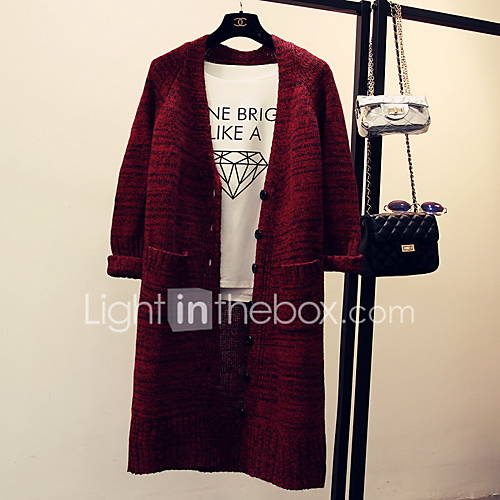 Dames Uitgaan / Casual/Dagelijks Eenvoudig Normaal Vest Effen-Blauw / Rood / Grijs V-hals Lange mouw Katoen Herfst Medium Micro-elastisch
