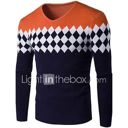 heren-casual-dagelijks-eenvoudig-normaal-pullover-effen-blauw-rood-grijs-oranje-ronde-hals-lange-mouw-katoen-acryl-winter-medium-rekbaar