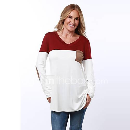 Dames Eenvoudig / Street chic Lente / Herfst T-shirt,Uitgaan / Casual/Dagelijks Kleurenblok V-hals Lange mouw Blauw / Rood Polyester