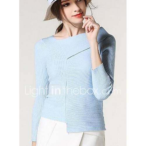 dames-uitgaan-schattig-normaal-pullover-effen-blauw-wit-zwart-assymmetrisch-lange-mouw-polyester-winter-medium-micro-elastisch