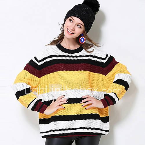 Dames Casual/Dagelijks / Grote maten Eenvoudig Normaal Pullover Kleurenblok-Geel Ronde hals Lange mouw Katoen / Acryl Herfst / Winter