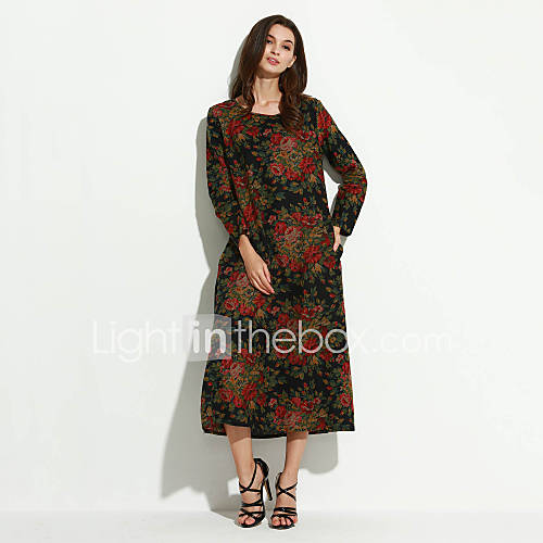 ronde-hals-katoen-linnen-zak-bloem-maxi-vrouwen-jurk-lange-mouw