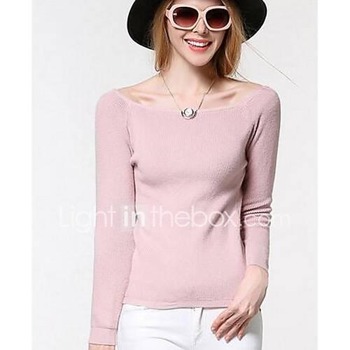 Dames Uitgaan Schattig Normaal Pullover Effen-Roze Boothals Lange mouw Katoen / Polyester Winter Medium Micro-elastisch