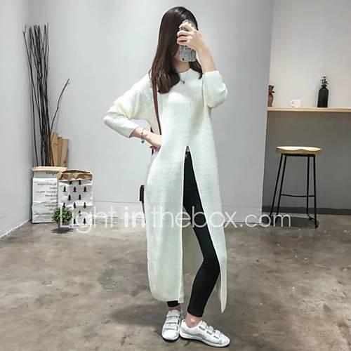 Dames Uitgaan Sexy / Eenvoudig / Schattig Normaal Pullover Effen-Wit Ronde hals Lange mouw Katoen Herfst / Winter Medium Micro-elastisch