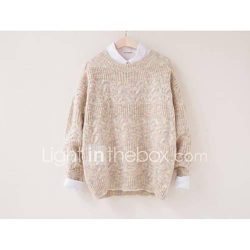Dames Uitgaan / Casual/Dagelijks Eenvoudig Normaal Pullover Ruitjes-Roze / Beige Ronde hals Lange mouw Polyester Herfst / Winter Medium