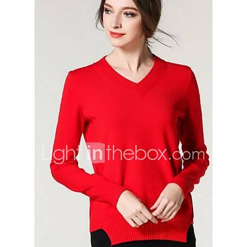 Dames Uitgaan / Casual/Dagelijks Schattig Normaal Pullover Effen-Rood Ronde hals Lange mouw Katoen / Polyester Winter Medium