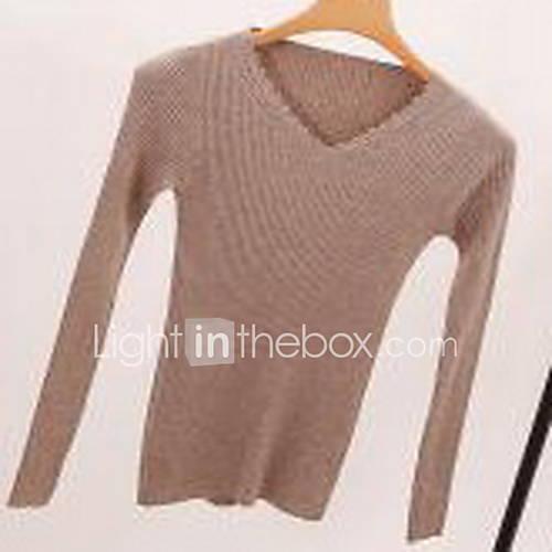 Dames Casual/Dagelijks Eenvoudig Normaal Pullover Effen-Beige / Zwart / Groen V-hals Lange mouw Nylon Winter Medium Micro-elastisch