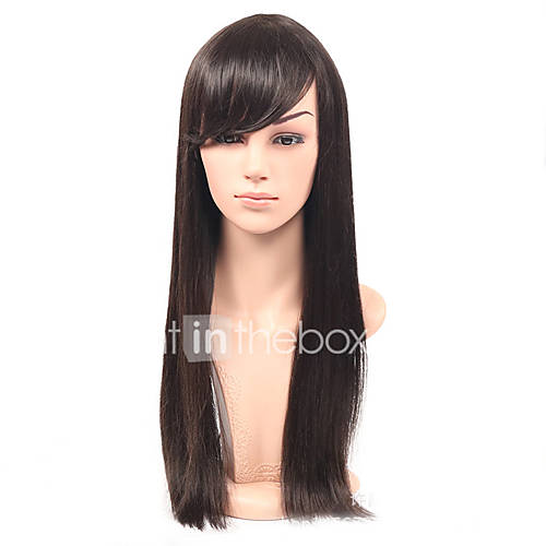cheap long straight hair synthetic wig with bangs glueless