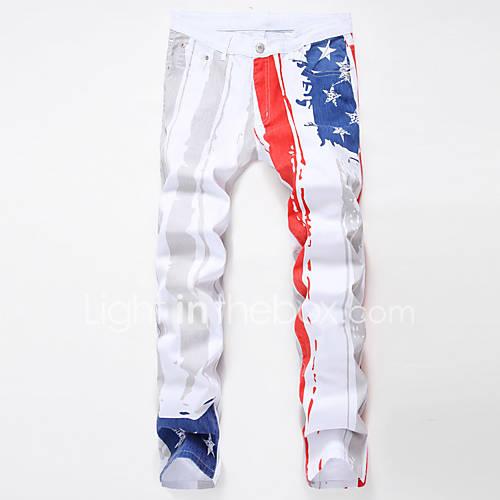 heren-recht-ruimvallend-grote-maten-jeans-broek-print-casual-dagelijks-vintage-patchwork-medium-taille-rits-katoen-linnen