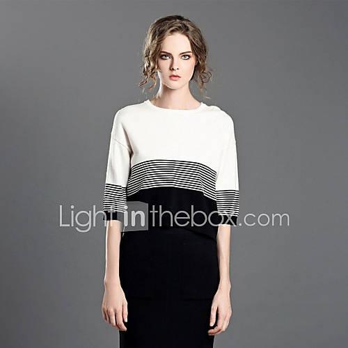 Dames Casual/Dagelijks Eenvoudig Normaal Pullover Gestreept-Wit Ronde hals Halflange mouw Polyester / Nylon Winter Medium Micro-elastisch