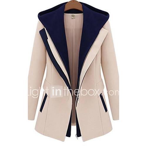 dames-lente-herfst-winter-jas-lange-mouw-beige-zwart-kleurenblok-medium-polyester