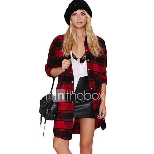 dames-sexy-vintage-eenvoudig-lente-herfst-overhemd-uitgaan-casual-dagelijks-print-opstaand-lange-mouw-rood-polyester-medium