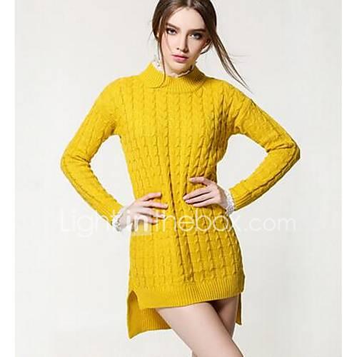 Dames Uitgaan Street chic Normaal Pullover Effen-Blauw / Rood / Bruin / Geel Ronde hals Lange mouw Polyester Winter Medium Micro-elastisch