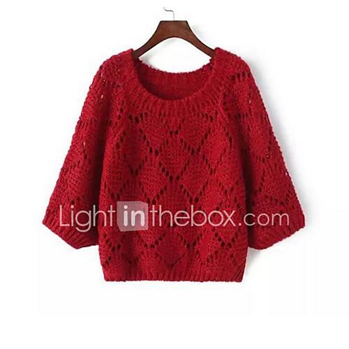 Dames Casual/Dagelijks Eenvoudig Kort Pullover Effen-Roze / Rood / Grijs / Groen Ronde hals Lange mouw Imitatiebont Herfst / Winter Medium