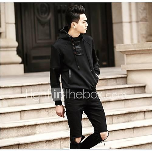 heren-casual-dagelijks-eenvoudig-normaal-hoodies-effen-zwart-capuchon-lange-mouw-katoen-herfst-winter-medium-micro-elastisch