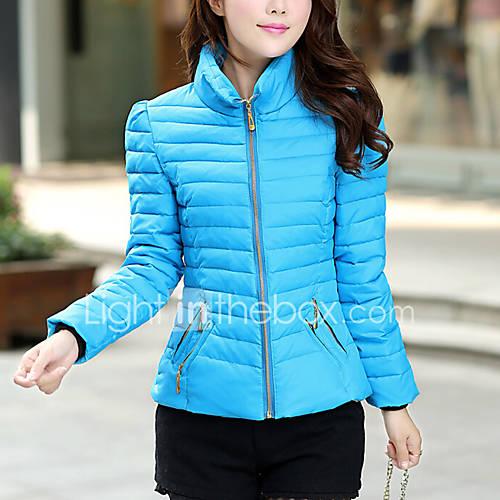 dames-effen-normaal-gewatteerd-jas-uitgaan-casual-dagelijks-werk-vintage-schattig-polypropyleen-spandex-opstaand-lange-mouw-blauw