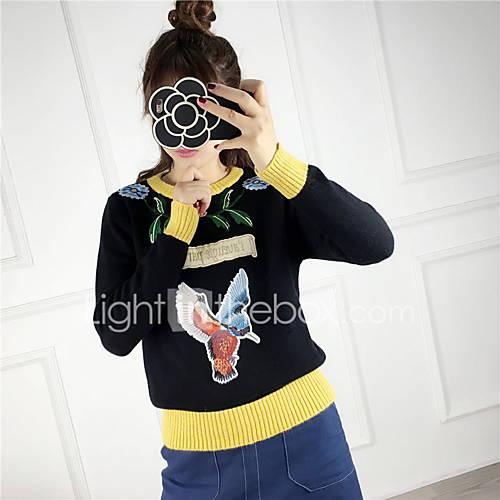 Dames Uitgaan / Casual/Dagelijks Eenvoudig / Schattig Kort Pullover Geborduurd-Wit / Zwart / Grijs Ronde hals Lange mouw Katoen / Acryl