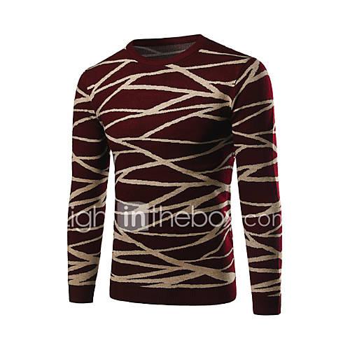 heren-casual-dagelijks-werk-eenvoudig-normaal-pullover-gestreept-blauw-rood-ronde-hals-lange-mouw-polyester-herfst-winter-medium
