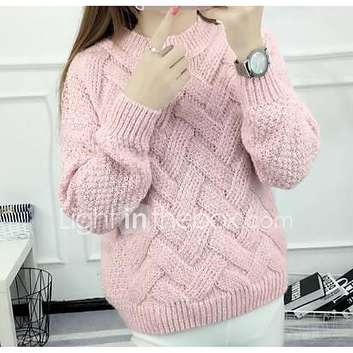 Dames Uitgaan / Casual/Dagelijks Eenvoudig Normaal Pullover Effen-Roze Ronde hals Lange mouw Katoen Lente / Herfst Medium Rekbaar