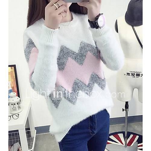 Dames Uitgaan Vintage Normaal Pullover Kleurenblok-Roze / Geel Ronde hals Lange mouw Polyester Winter Medium Micro-elastisch
