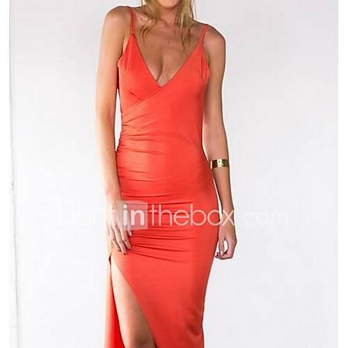 dames-casual-dagelijks-eenvoudig-wijd-uitlopend-jurk-effen-diepe-v-hals-maxi-mouwloos-oranje-katoen-herfst-winter-hoge-taille