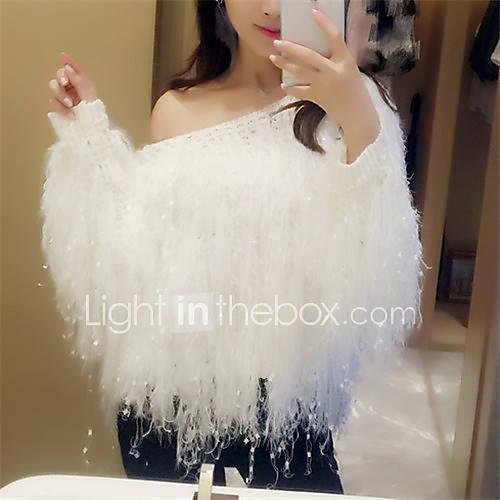 dames-uitgaan-casual-dagelijks-sexy-schattig-normaal-pullover-effen-roze-wit-zwart-schouderafhangend-lange-mouw-polyester-herfst-winter