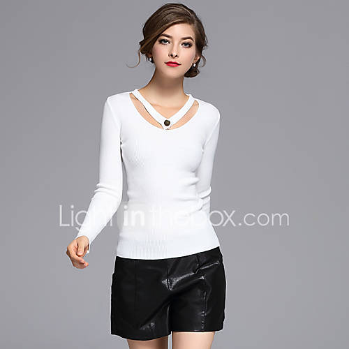 Dames Uitgaan / Casual/Dagelijks Sexy / Eenvoudig Normaal Pullover Effen-Wit Opstaand Lange mouw Rayon Herfst / Winter Medium Rekbaar