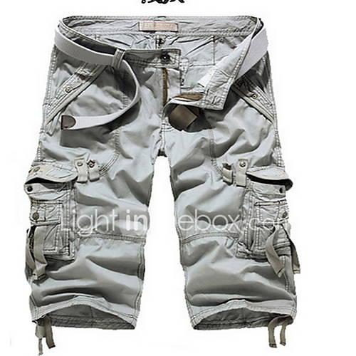 heren-ruimvallend-shorts-broek-effen-casual-dagelijks-eenvoudig-medium-taille-rits-katoen-micro-elastisch-zomer