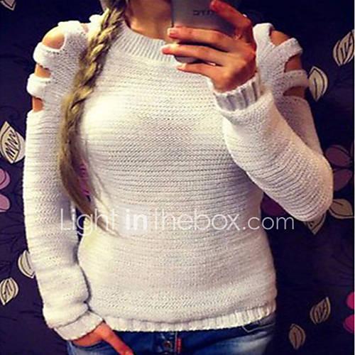 dames-casual-dagelijks-sexy-eenvoudig-normaal-pullover-effen-wit-grijs-ronde-hals-lange-mouw-acryl-herfst-winter-medium-micro-elastisch