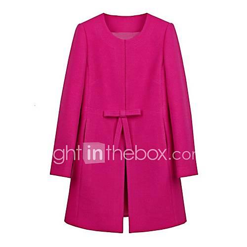dames-eenvoudig-herfst-winter-jas-uitgaan-casual-dagelijks-ronde-hals-lange-mouw-rood-geel-effen-medium-polyester