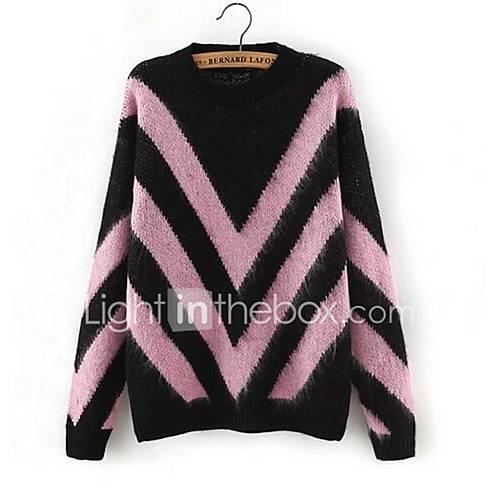 Dames Casual/Dagelijks Eenvoudig Normaal Pullover Gestreept / Geometrisch / Kleurenblok-Blauw / Roze / Rood V-hals Lange mouw Katoen Lente