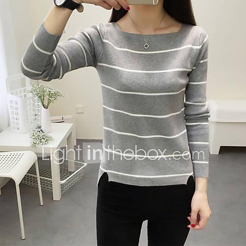 dames-uitgaan-casual-dagelijks-eenvoudig-street-chic-normaal-pullover-gestreept-roze-wit-zwart-grijs-ronde-hals-lange-mouw-wol-lente