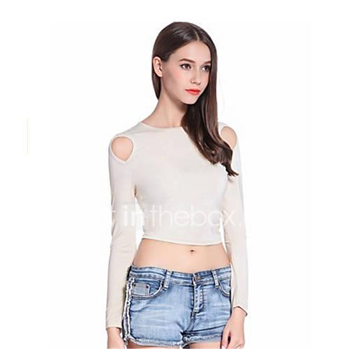 dames-sexy-eenvoudig-lente-herfst-t-shirt-uitgaan-casual-dagelijks-strand-effen-ronde-hals-lange-mouw-zwart-grijs-rayon-medium