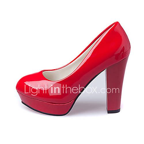 Mujer-Tacón Robusto-Confort-Tacones-Casual-PU-Negro / Rojo / Blanco / Almendra Descuento en Lightinthebox