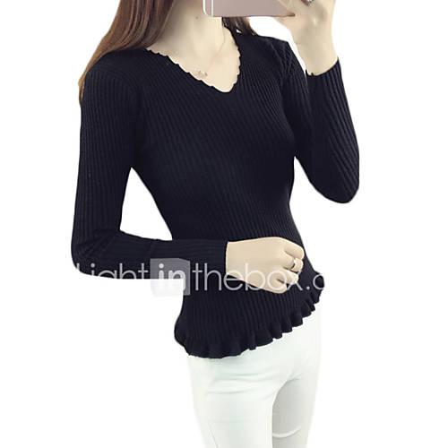 dames-casual-dagelijks-eenvoudig-normaal-pullover-effen-blauw-wit-beige-zwart-grijs-geel-paars-v-hals-lange-mouw-katoen-herfst-medium