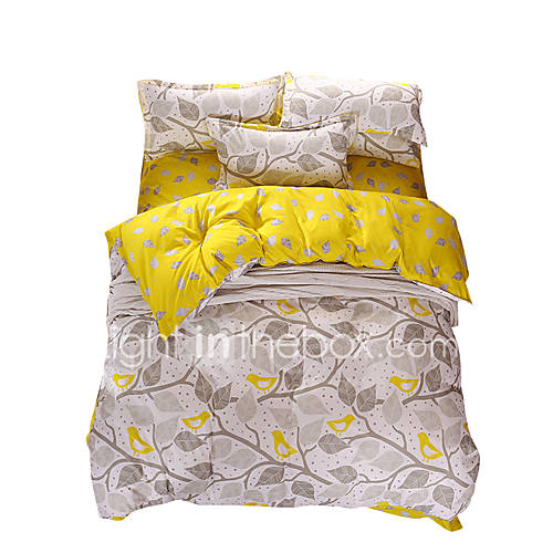 Mingjie Wonderful Grey and Yellow Leaves Bedding Sets 4PCS