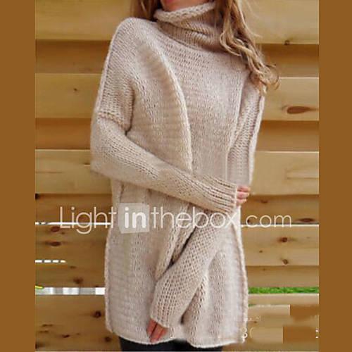 Dames Casual/Dagelijks Sexy / Eenvoudig Normaal Pullover Effen-Blauw / Roze / Wit / Bruin / Grijs Coltrui Lange mouw Acryl Herfst / Winter