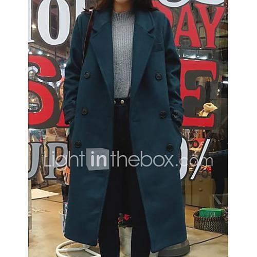 dames-eenvoudig-boho-herfst-winter-trenchcoat-uitgaan-casual-dagelijks-v-hals-lange-mouw-blauw-groen-effen-medium-polyester