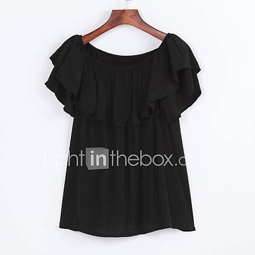 vrouwen-eenvoudig-zomer-overhemd-casual-dagelijks-effen-boothals-korte-mouw-zwart-polyester-ondoorzichtig