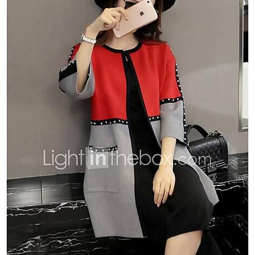 Dames Uitgaan / Casual/Dagelijks Eenvoudig / Street chic Lang Vest Gestreept / Kleurenblok-Rood Ronde hals Lange mouw KatoenLente /