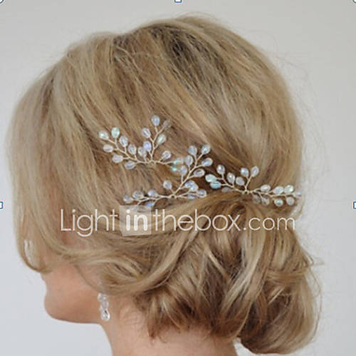 Women's Simple Bridal Hair Accessories Handmade Crystal ...