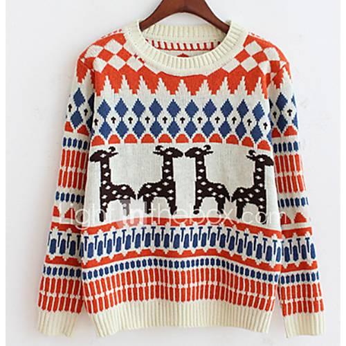 Dames Casual/Dagelijks Eenvoudig Kort Pullover Dierenprint-Blauw / Oranje / Paars Ronde hals Lange mouw Katoen Herfst / Winter Medium