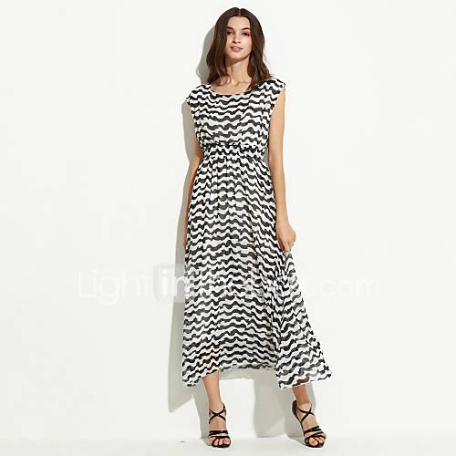 vrouwen-boho-wijd-uitlopend-gestreept-jurk-maxi-ronde-hals-polyester
