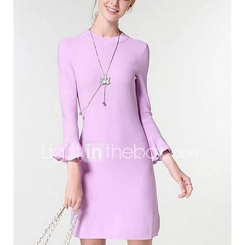 Dames Uitgaan / Casual/Dagelijks Vintage Normaal Pullover Effen-Roze / Zwart Ronde hals Lange mouw Polyester Winter Medium Micro-elastisch