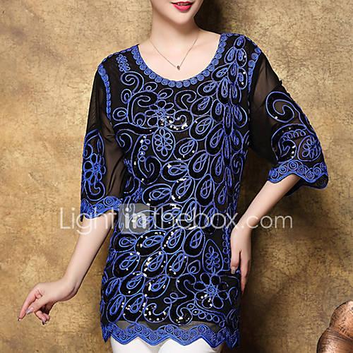 Dames Street chic Herfst T-shirt,Uitgaan Geborduurd Ronde hals Halflange mouw Blauw / Rood / Zwart Polyester Medium