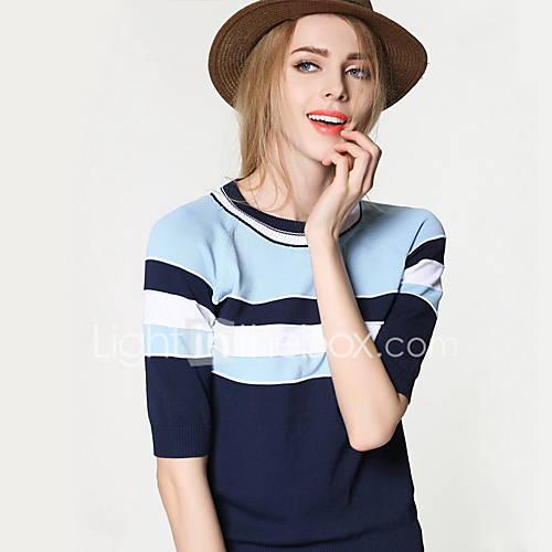 Dames Uitgaan / Casual/Dagelijks Eenvoudig / Schattig Normaal Pullover Gestreept / Kleurenblok-Blauw Ronde hals Driekwart mouw Nylon Zomer