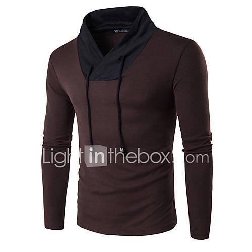 heren-casual-dagelijks-werk-sportief-eenvoudig-actief-normaal-pullover-kleurenblok-rood-zwart-bruin-v-hals-lange-mouw-katoen-lente-medium