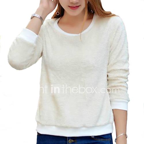 dames-eenvoudig-street-chic-herfst-winter-t-shirt-casual-dagelijks-uitgaan-effen-ronde-hals-lange-mouw-beige-katoen-polyester-dun